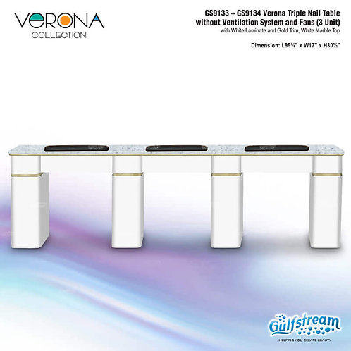 GS9133 + GS9134 VERONA TRIPLE NAIL TABLE WITHOUT VENTILATION SYSTEM AND FANS (3