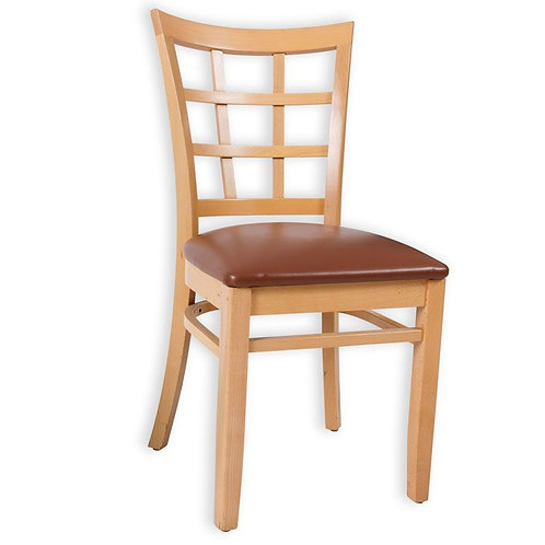 W-7 WOODEN CHAIR W/CAPPUCCINO CUSHION-AF