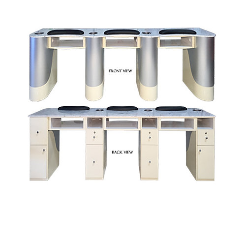 Custom Made Triple Nail Table (Aluminum/Beige)-PS