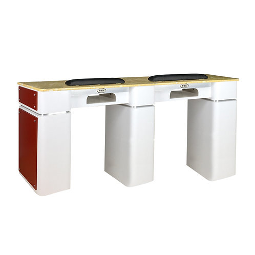 Nail Table T-39 Double (White / Burgundy) with Gel Hole-PS