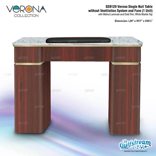 GS9129 VERONA SINGLE NAIL TABLE WITHOUT VENTILATION SYSTEM AND FANS (1 UNIT)