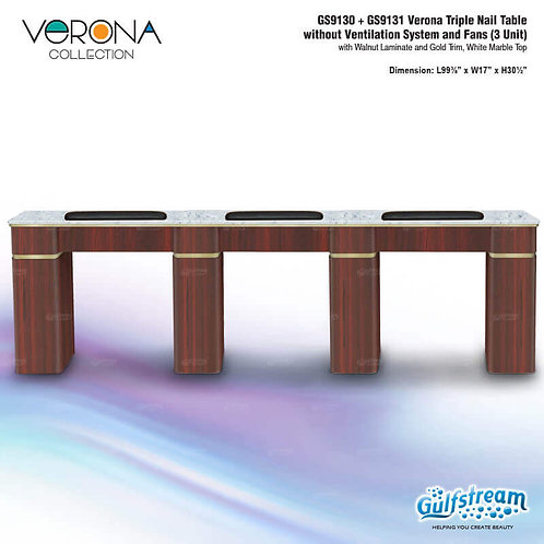 GS9130 + GS9131 VERONA TRIPLE NAIL TABLE WITHOUT VENTILATION SYSTEM AND FANS (3