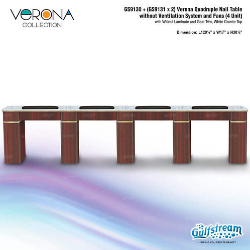 GS9130 + (GS9131 X 2) VERONA QUADRUPLE NAIL TABLE WITHOUT VENTILATION SYSTEM AND