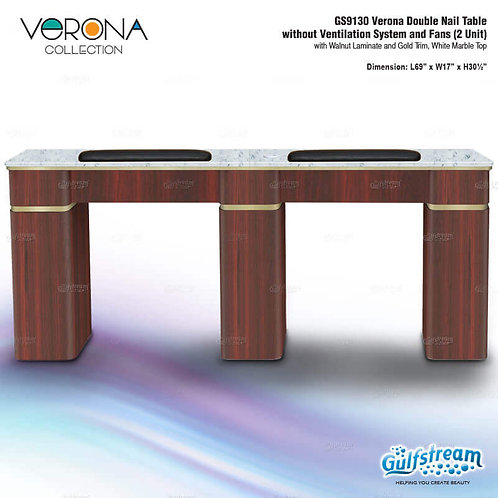 GS9130 VERONA DOUBLE NAIL TABLE WITHOUT VENTILATION SYSTEM AND FANS (2 UNIT)