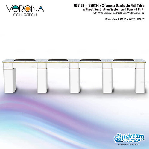 GS9133 + (GS9134 X 2) VERONA QUADRUPLE NAIL TABLE WITHOUT VENTILATION SYSTEM AND