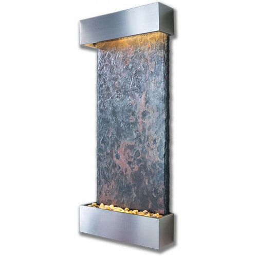 Nojoqui Falls Large NSI Slate Indoor Wall Fountain Stainless Steel Trim-BS
