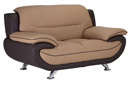 Leather Loveseat S02 (Cappuccino / Brown)-PS