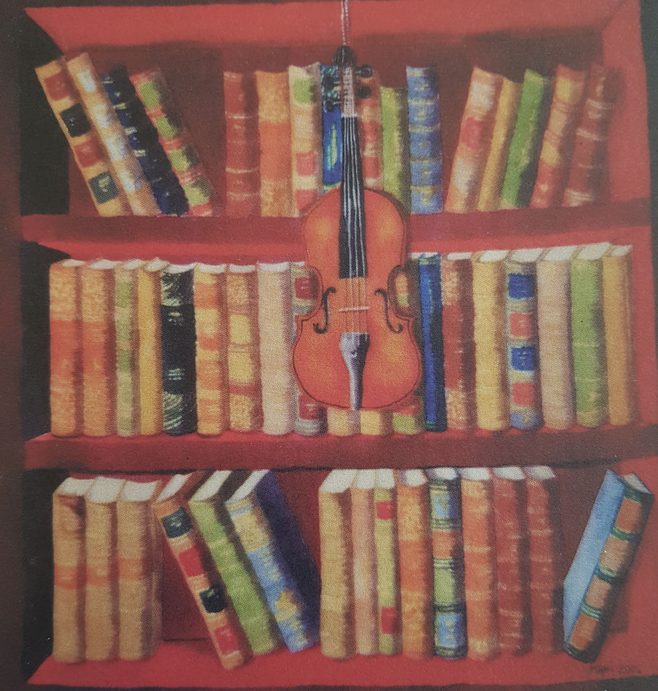The Violin and Red Bookshelves