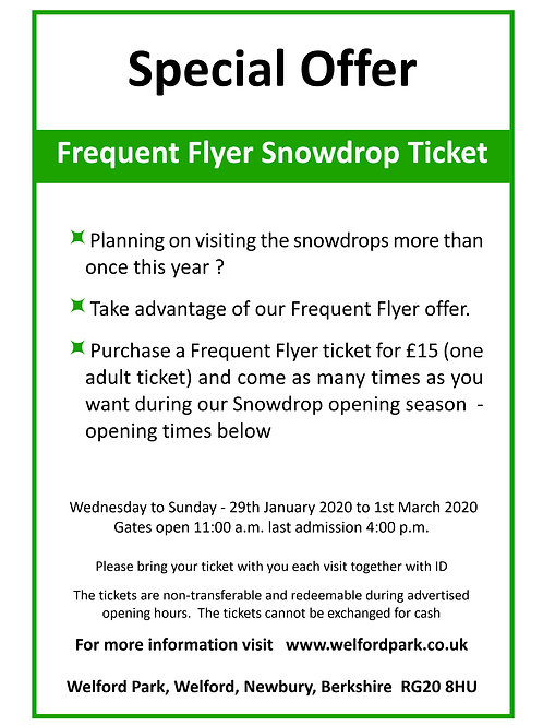 Frequent Flyer Snowdrop Entrance Ticket