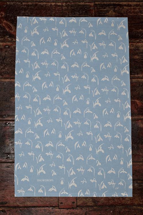 Blue Snowdrop Tea Towel