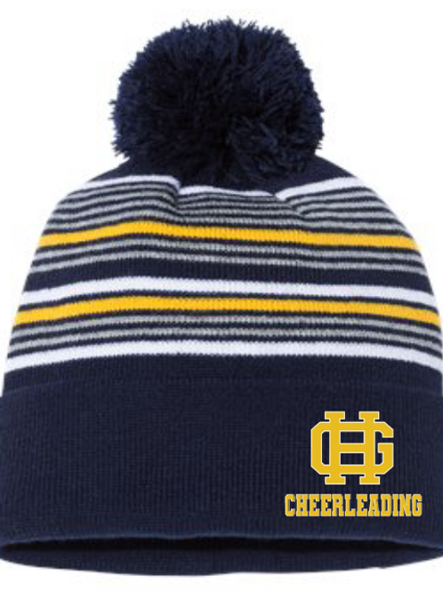 "GH 12"" Striped Pom-Pom Knit Beanie"