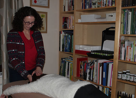 Gail performing a balance on a client