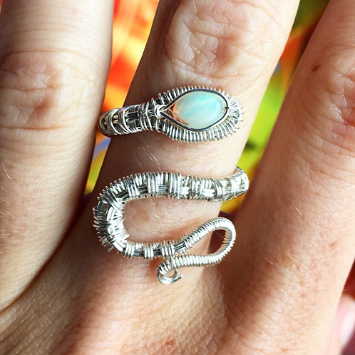 Snake Ring with Opal