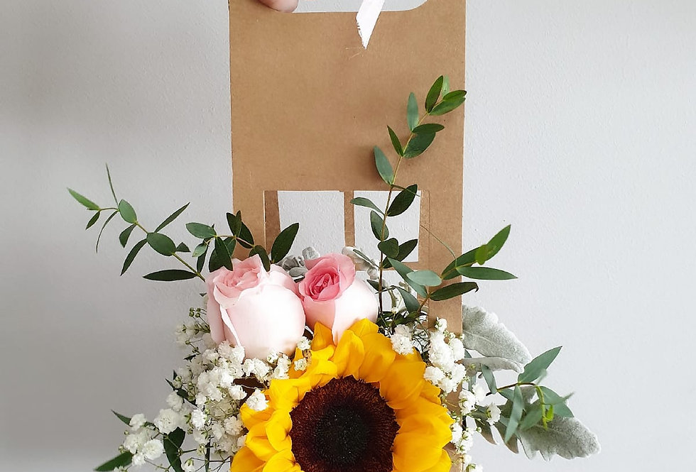 (FB04) Sunflower and Pink Roses Floral Box