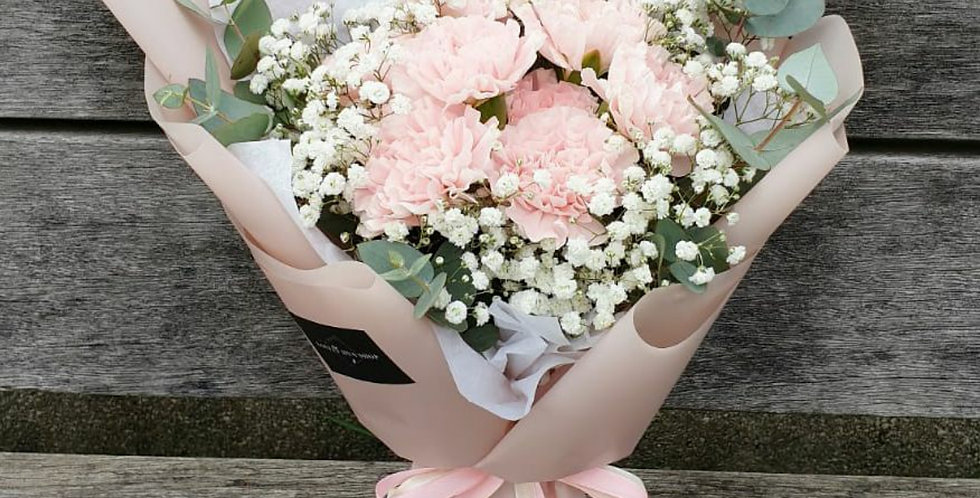 (C04) Fond - Pink Carnations & Baby's Breath