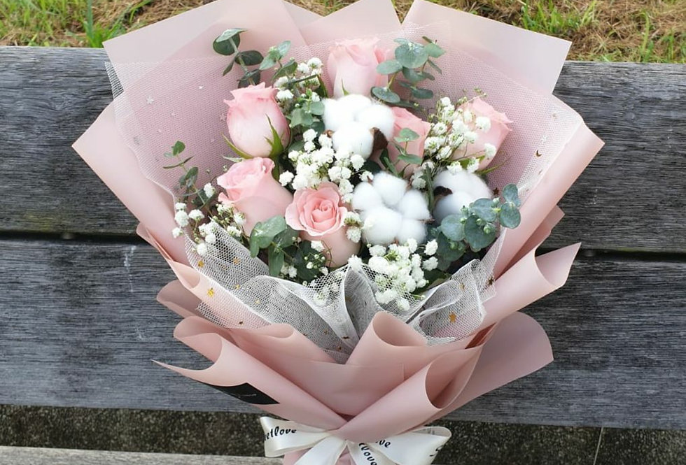 (R30) Cotton Candy - Roses & Cotton Flowers
