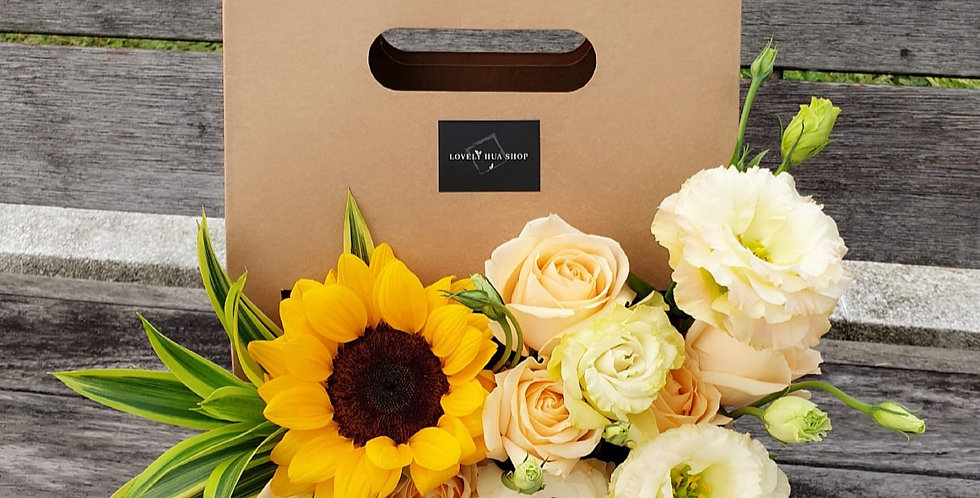 (FB07) Sunflower & Champagne Roses