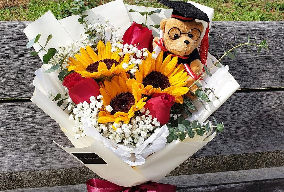(SFR03) Sweet Graduation - Sunflower & Rose