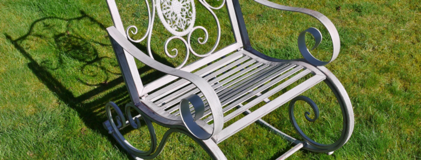 GREY METAL GARDEN ROCKING CHAIR