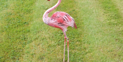 PINK METAL FLAMINGO