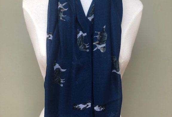 NAVY BORDER COLLIE SCARF