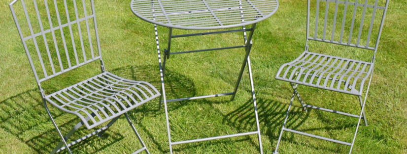 GREY METAL GARDEN TABLE AND CHAIRS