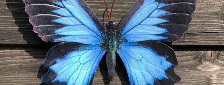 BLUE METAL BUTTERFLY WALL DECOR