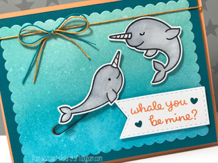 MFT Color Challenge #60 | Narwhal Valentine's Day Card featuring Lawn Fawn