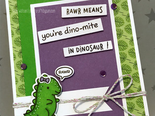 "February Critter Card Swap | Lawn Fawn ""Dino-mite"" Card"