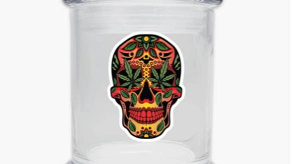 Skull glasss jar 6oz