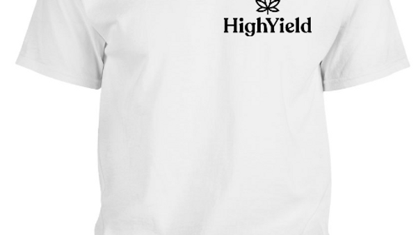 HighYield t-shirt white with black logo left