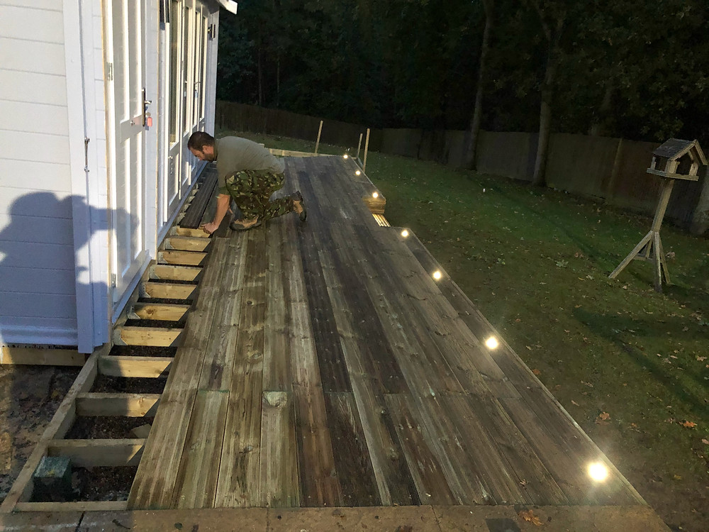 Low voltage decking lights connected to the properties Hive app and controllable via smart phone app and Alexa.