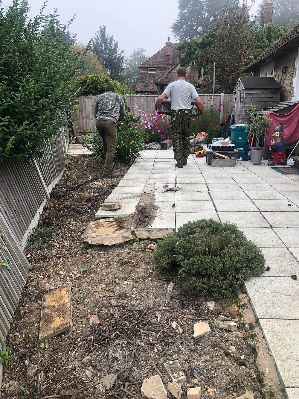 The existing patio was in a very poor condition and the sub-base had subsided