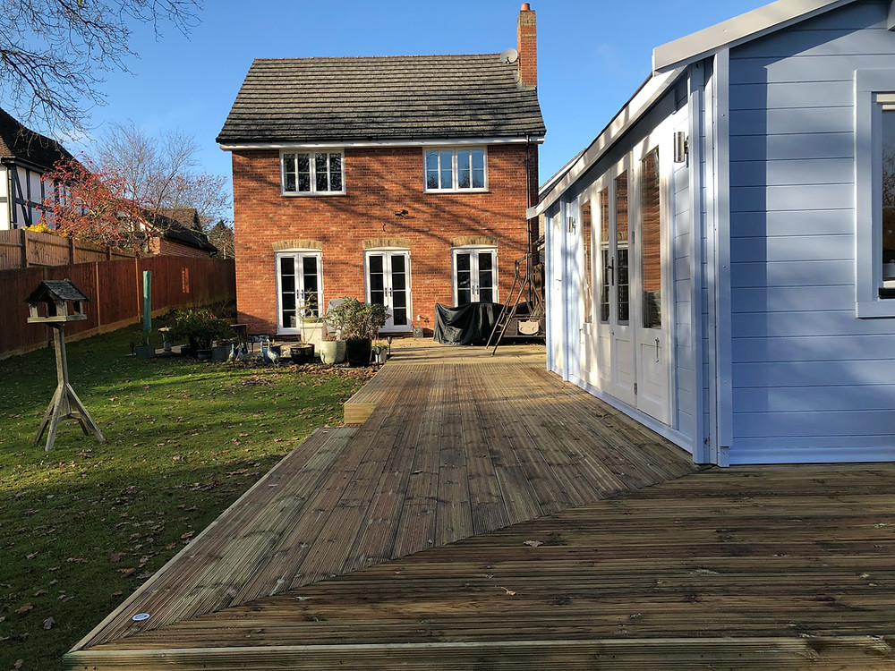 This is the end result of of raised decking design and build project, our third job for these lovely clients.