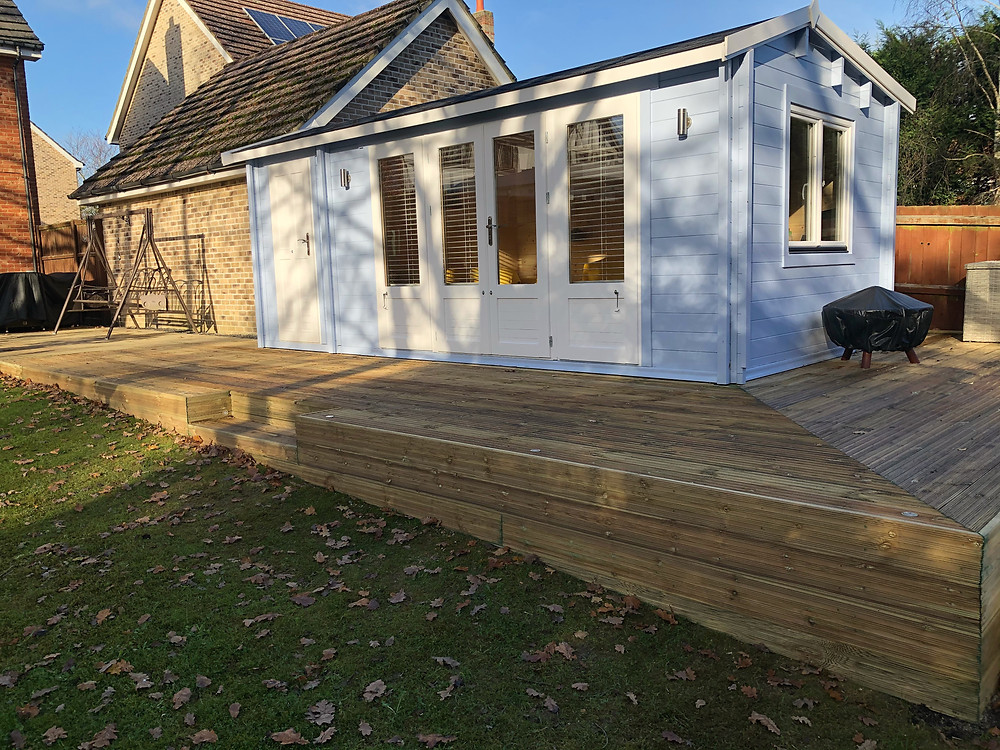 Complete decking with neatly clad sides, inset step, lighting and mitred boards on the 90 degree return