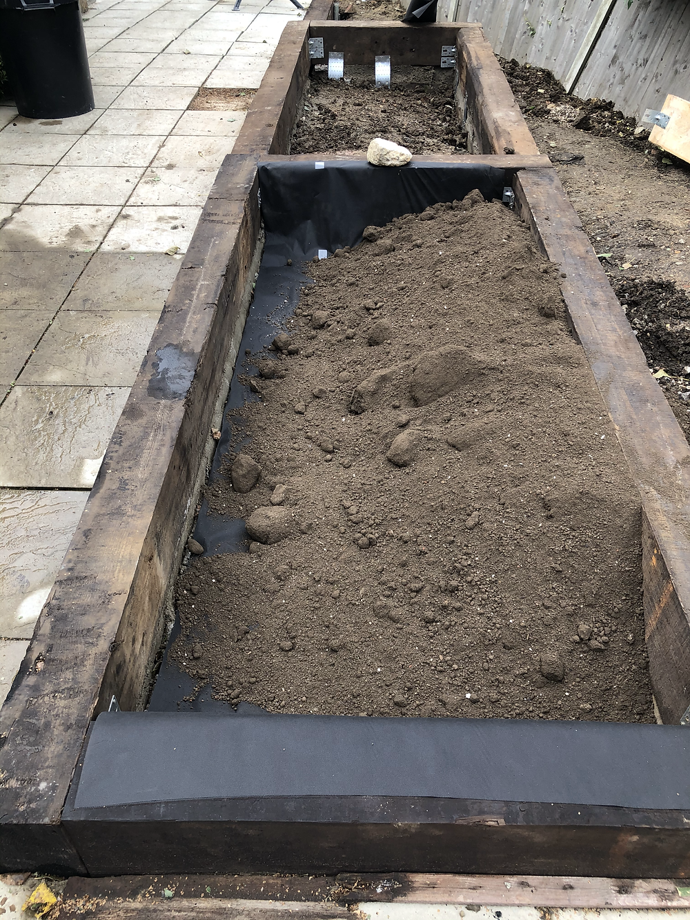 Blended Loam to BS3882 was used to fill these raised sleeper flowerbeds