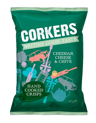 Corkers Cheddar Cheese & Chive Crisps 40g