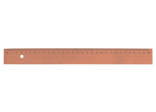 Holzlineal mit Metalleinsatz -30 cm-