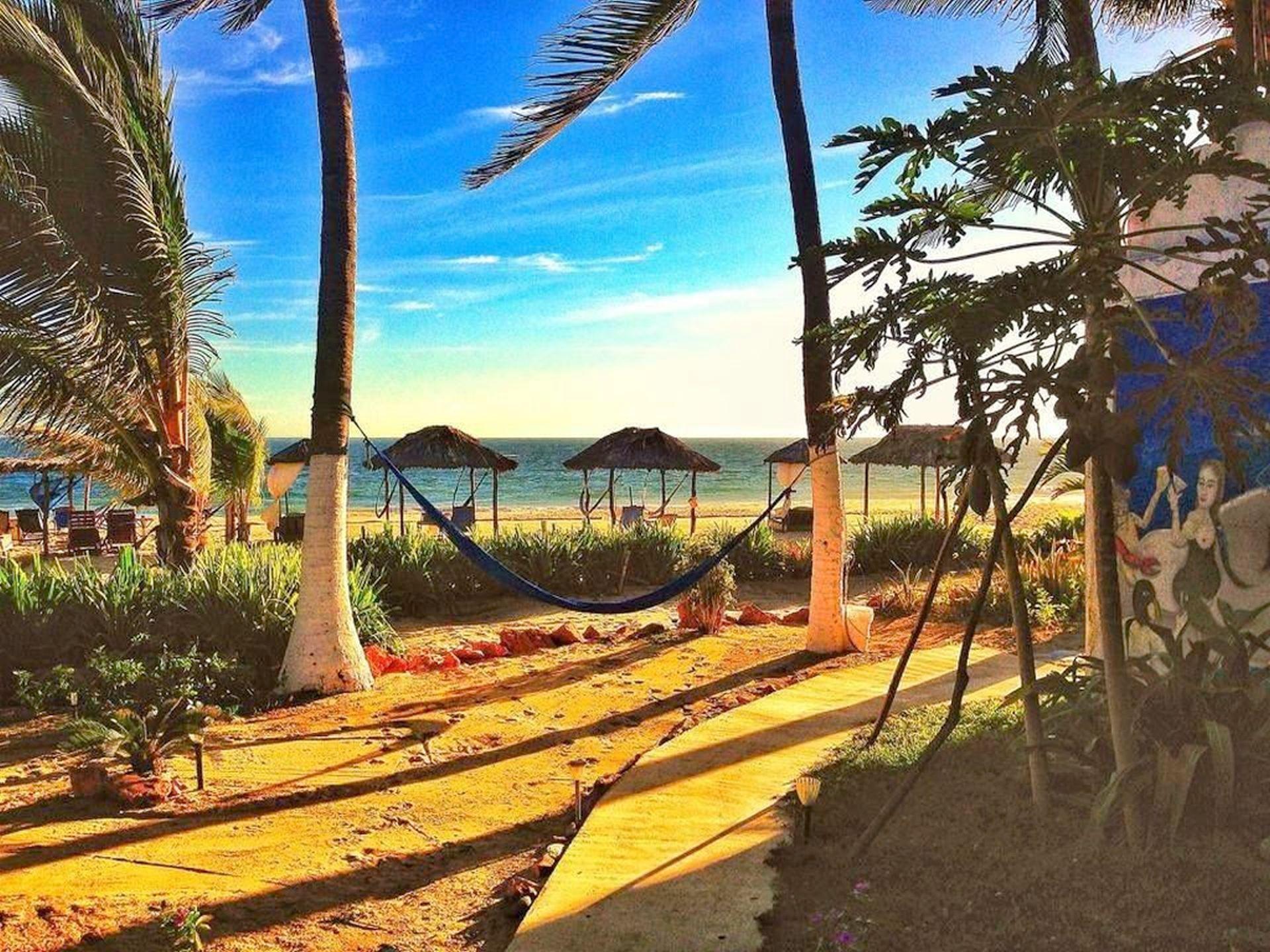 atardecer en el jardin de playa