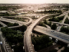 Aerial view of a complex motorway road j