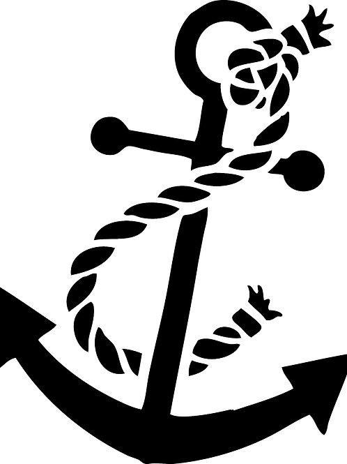 "Anchor w/Rope Stencil 8"" x 8"""