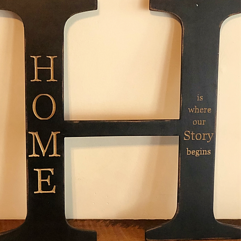H is for home sign (black)