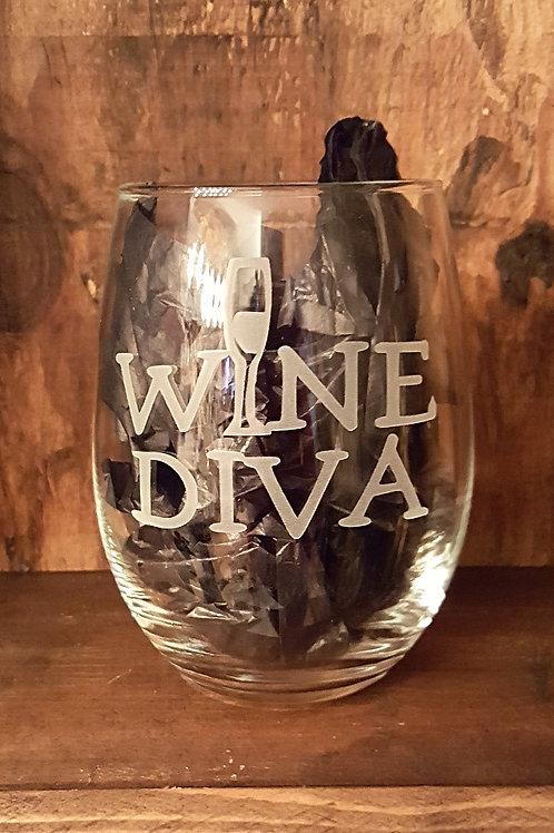 """""""Wine Diva"""" Stemless Wine Glass"""