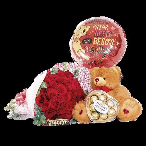Dtaye Ramo de 30 flores con Peluche