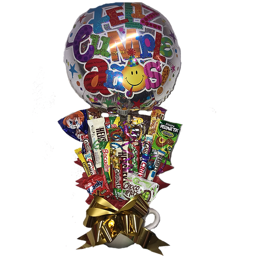 Taza con Chocolates Feliz Cumpleaños