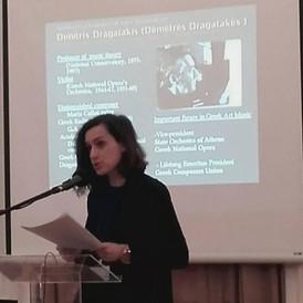 Dr Magdalini Kalopana gives a presentation about Dimitris Dragatakis. Photo supplied by the Archive of Magdalini Kalopana.