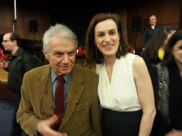 The late Theodore Antoníou and Magdalini Kalopana (2014) at the 100 Years Since Birth exhibition at the Megaron. Photo supplied by the Archive of Magdalini Kalopana.