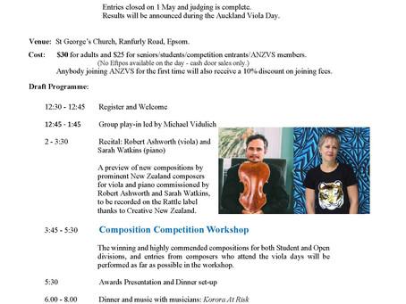 Auckland Viola Day 22 August 2021 postponed