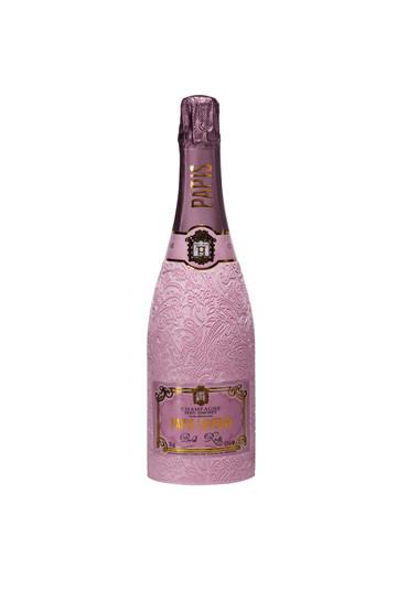 Champagne Papis Cuvée Brut Rosé on white