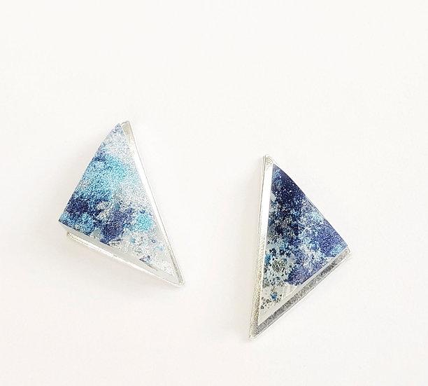 Sea Resin & Silver Triangle Studs